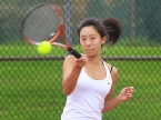 Sparta's Shirley Wang during her first singles match on Thursday, Oct. 13.