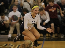Gabriella Savite of West Morris celebrates her team's victory in the Morris County Volleyball Tournament final.