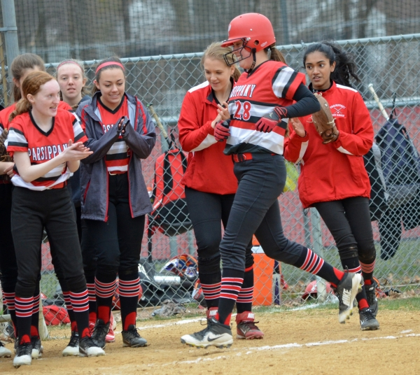 Lilianna Vidal nears home plate after hitting a home run versus Mendham on April 4.