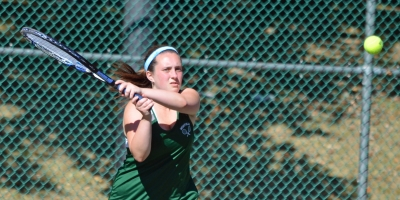 Danielle Langer, above, and Leah Mazie of Montville advanced to the MCT semifinals in first doubles.