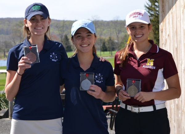 Meghan Gyves and Jess Barry of Chatham and Madison's Carley Hopton were the top three finishers at the Morris County Girls Golf Tournament on Wednesday, May 7. Hopton shot a 38 and repeated as champion of the nine-hole event.
