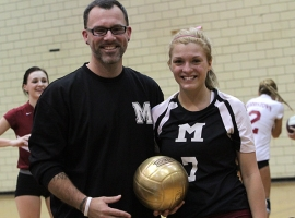 Bradley Taylor, picturned with coach Ron Davenport after Morristown's match against Mendham, has 1,000 career assists.