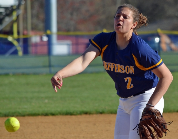 Katie DeBell, pictured in the slideshow, had three hits for Jefferson. Above, Falcons hurler Alexa Pettit fires a pitch.
