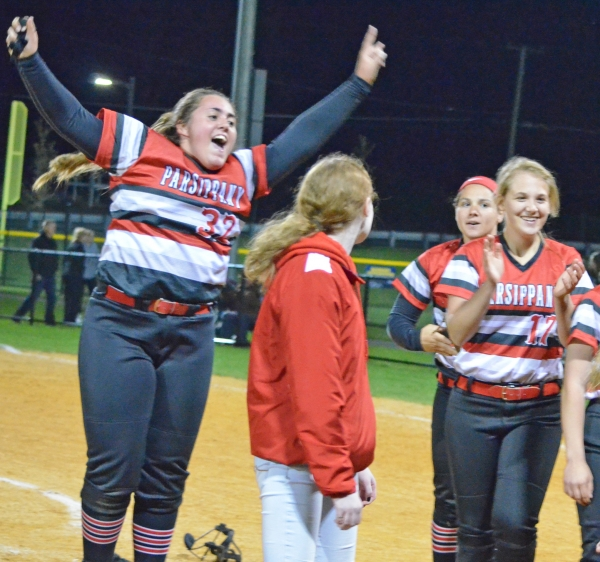 Parsippany pitcher Caitlin Brennan, leaping, and her teammates celebrated after their win over Morris Knolls in the MCT final.