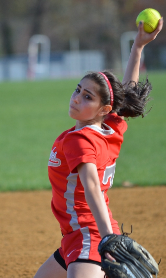 Parsippany's Gabby Santana gets set to fire a pitch.
