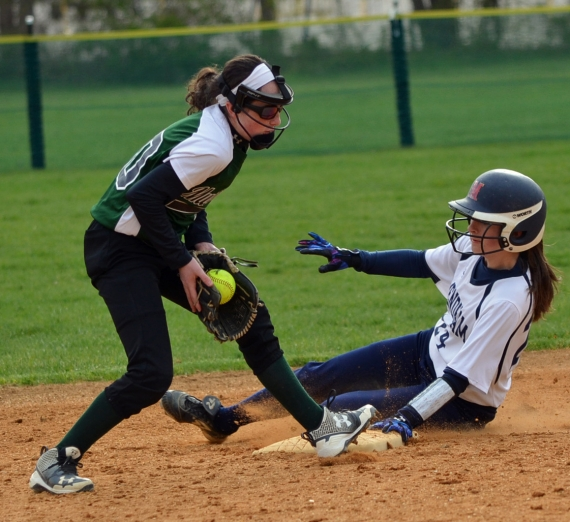 Kaylee Allatta of Mendham stole second base in the sixth inning.