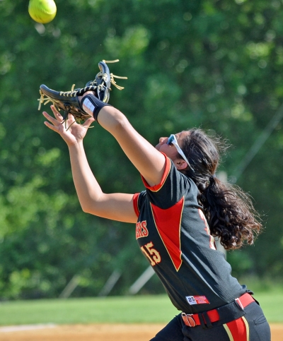 Mount Olive's Alyssa Mathura gets set to catch a popup.