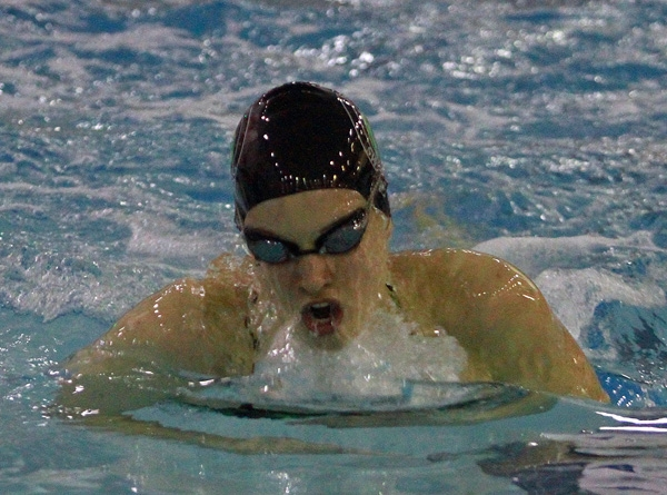 Abby Fisher of Kinnelon on her way to winning the 100 breaststroke.