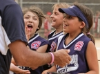 Amanda Lalicata, Jaclyn Carifi and Tara Tafro celebrate after a 1-2-3 fourth inning against Par-Troy East.