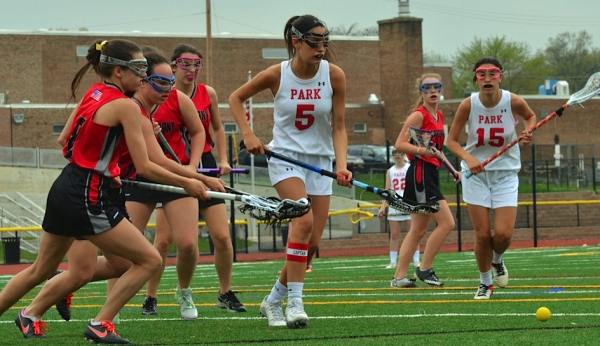 Amanda Hoberman, No. 5 in white, scored her 100th career goal in Park's win over Parsippany on April 20, 2017.
