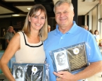 Sharon Sullivan, Class of 1985, and Rich Klebez, who enjoyed a successful stint as softball coach, pose for a photo following the 2011 Parsippany Hills High School Hall of Fame induction on Saturday, Sept. 24, 2011.