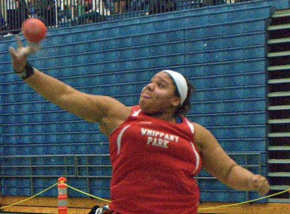 Nickolette Dunbar of Whippany Park makes one of her throws at the Jack O'Leary Lid Lifter.