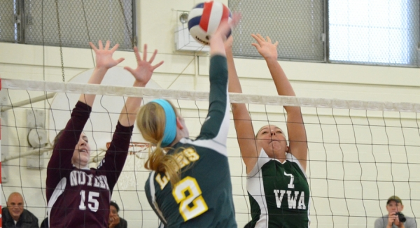 Villa Walsh's Anique Barch, right, goes up for a block.
