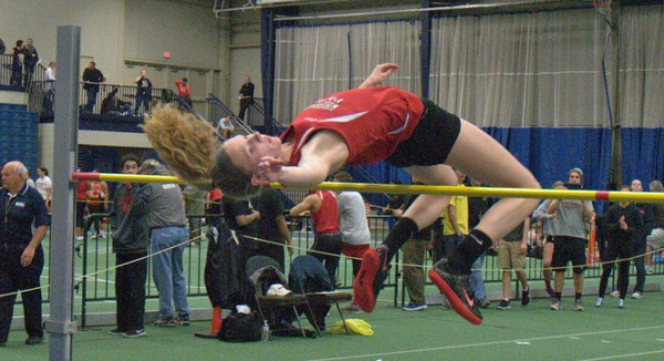 Kristen Hall of Whippany Park won the high jump at the Lid Lifter with a leap of 5-4.