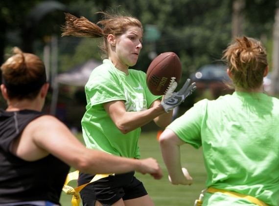 The action was intense at the Bizzie Bowl III Flag Football Tournament this summer.