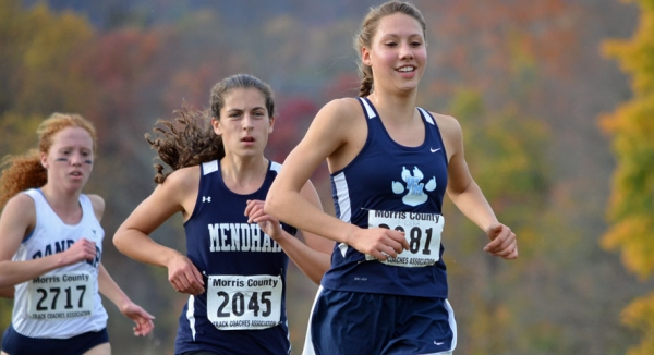 Sierra Castaneda of West Morris leads after one lap at the Morris County Cross Country Championships.