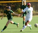 Stella Johnson of Morris Catholic, right, and Kinnelon's Emily Thiem in action in a MCT quarterfinal.