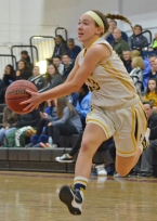 Pequannock's Carly Klimek goes in for a layup during the MCGBCA Senior All-Star Game.