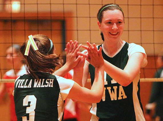 Megan Powlen and Patricia O'Connor of Villa Walsh celebrate.