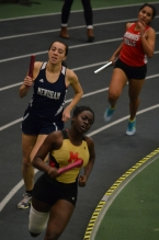 Mount Olive's Suzanne Nimoh leads her leg of the 1,600. In the slideshow, Ashleigh Thurston anchors Morris Hills in the sprint medley relay.