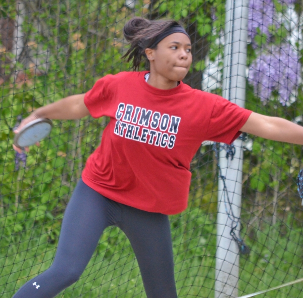 Morristown-Beard's Halia Rosemond won the discus at the 2015 Morris County Championships.