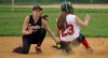 Boonton shortstop Carly McDaniel applies a tag to a Morris Tech player at second base.