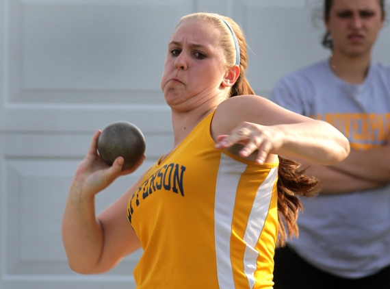 Carrie Wasdyke of Jefferson won the shot put at the Morris County Championships.