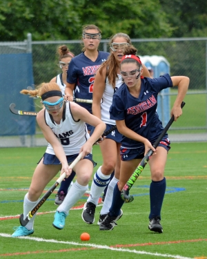 The Rams' Lexi Campbell, left, vies for the ball with Mendham's Izzy Pampalone during a game on Saturday, Sept. 8, 2018.
