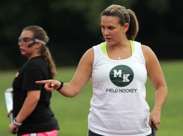 Morris Knolls field hockey coach Kristin Haberthur oversees a practice.