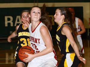 Lauren O'Connor of Whippany Park drives between Cresskill defenders.