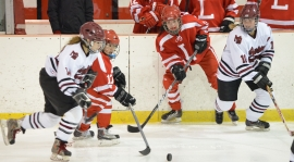 Morristown-Beard's Mikhaela Schultz, left, and Maggie McDonagh pursue the puck along with two Lawrenceville School players.