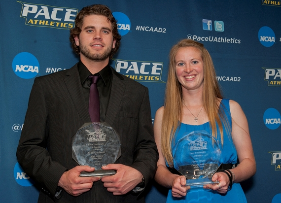 Jeane Drury poses with Pace Male Athlete of the Year Matt Gebhardt.