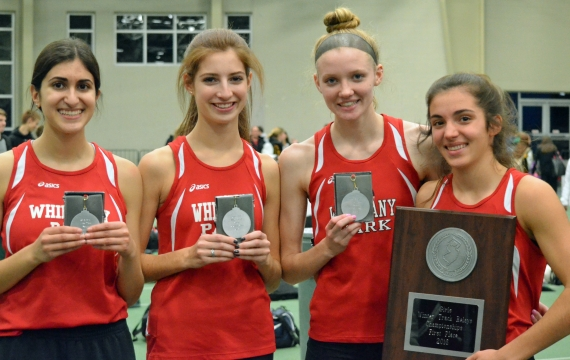Members of the second-place Whippany Park 4x400 team, above, pose with their medals and the championship plaque.