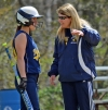 Pequannock coach Maryann Goodwin confers with one of her players during an MCT game against Pequannock this season.