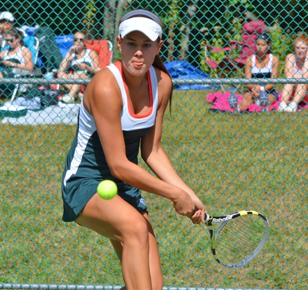 Paige Godau, pictured above, was paired with Jillian Garfunkel, slideshow, at first doubles for the 2014 season.