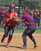Morristown's Meghan Acampora tags the Wildcats' Catie Davidson for the first out of the seventh inning.