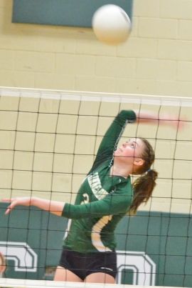 Claire Mullaney gets set to make a kill during Kinnelon's state tournament game versus Ridgefield.