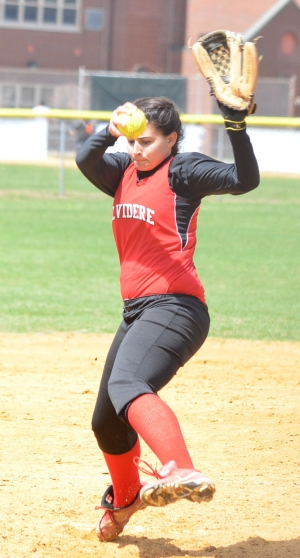 Erricka Leopardi earned two wins at the Dover Softball Spring Invitational.