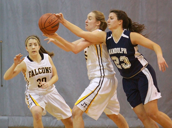 Kristen Swerzenski of Jefferson and Taylor Lusardi of Randolph battle for a rebound in a MCT semifinal.