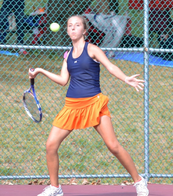 Emily Eckert of Mountain Lakes gets set to hit a forehand during her second singles match at the MCT.