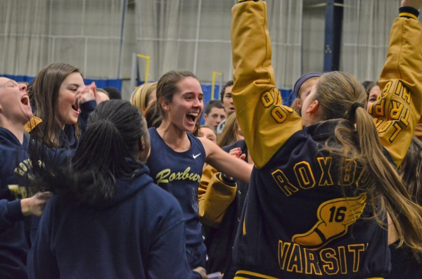 Roxbury, above, celebrates its Morris County Relays title. In the slideshow, the proud Gaels pose for a team picture.
