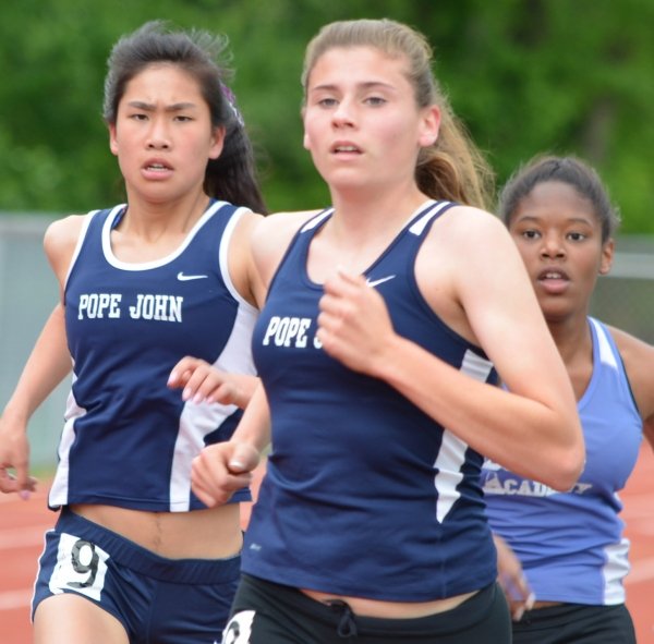 Pope John runners participate in the 3,200 at the sectional meet.