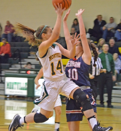 Montville's Nicole Montemorano drives to the basket. The Mustangs defeated Mendham, 49-42.