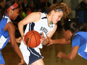 Randolph's Morgan Rachmiel is swarmed by Passaic Tech defenders.
