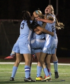 West Morris celebrates its goal in the MCT final.