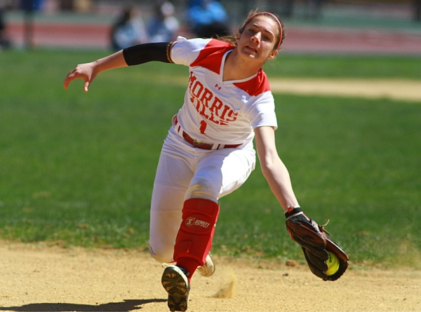 Morris Hills center fielder Dana Castellano races in to make a shoestring catch.