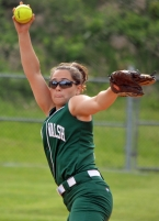 Freshman Paige Saybe pitched the last two innings for Villa Walsh against Dwight-Englewood. In the slideshow, Theresa dePoortere scores a run for the Vikings.