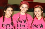 Parsippany volleyball captains, left to right, Michelle Merida, Nicole Herrmann and Nicole Herbst following their Dig Pink fundraiser.