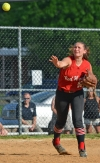 Parsippany third baseman Angelica Link throws to first base for the final out of the Red Hawks' win over Hanover Park.