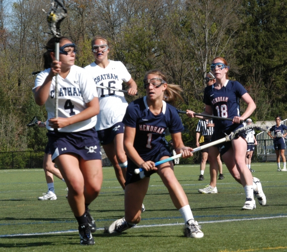 Chatham's Liz Hyde, left, controls the ball. Mendham's Paige Russell is in pursuit.